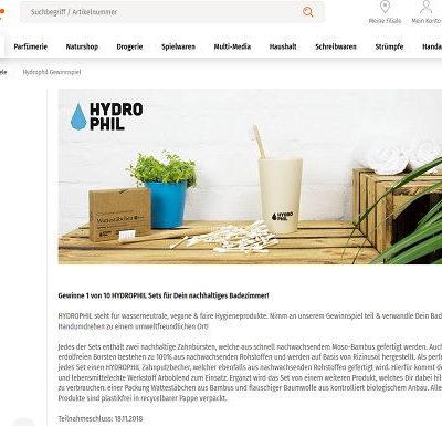 Müller Gewinnspiel Hydrophil Sets nachhaltige Badezimmerprodukte