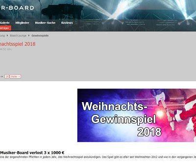 Musiker Board Weihnachts-Gewinnspiel 2018 1.000 Euro Gutscheine