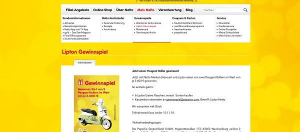 Netto Gewinnspiele Lippton Eistee Peugeot Motorroller