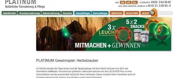 Platinum Herbstzauber Gewinnspiel Hunde-Leuchthalsbänder und Snacks