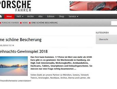 Porsche Fahrer Weihnachts-Gewinnspiel 2018