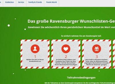 Ravensburger Gewinnspiel 500 Euro Wunschliste