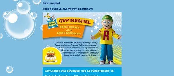 Robby Bubble Gewinnspiel Geburtstagsparty mit Robby Bubble