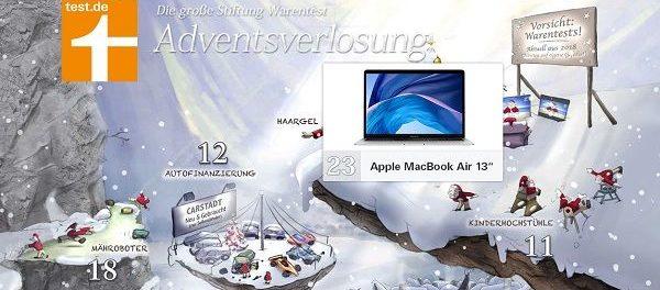 Stiftung Warentest Adventskalender Gewinnspiel 2018 Apple MacBook uvm.