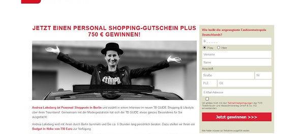 TB Guide Gewinnspiel Berlin Shopping Gutschein gewinnen