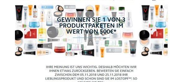 Vichy Gewinnspiel 3 mal 500 Euro Kosmetikpaket