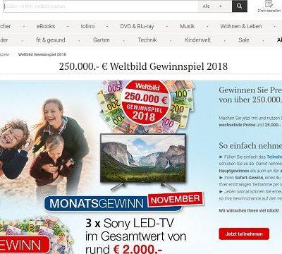 Weltbild Gewinnspiel November 3 Sony LED Fernseher