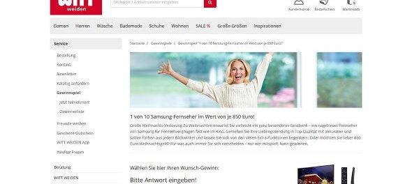 Witt Weiden Gewinnspiel Samsung Fernseher oder Bargeld