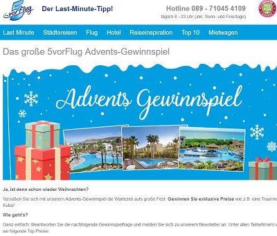 Advents-Gewinnspiel 5vorFlug 3 Reisen und Überraschungspakete