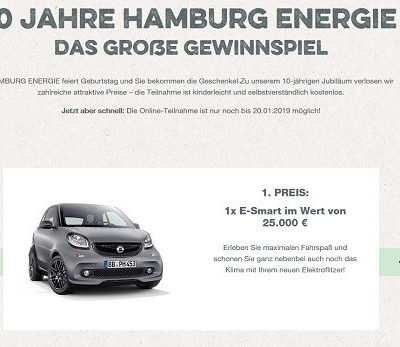 Auto-Gewinnspiel Hamburg Energie E-Smart gewinnen
