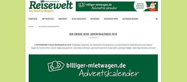 Billiger-Mietwagen.de Adventskalender Gewinnspiel 2018