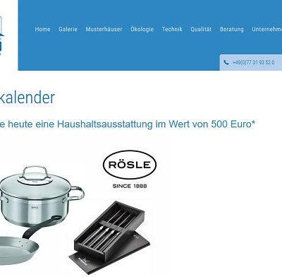 Bodenseehaus Adventskalender Gewinnspiel Rösle Produkte