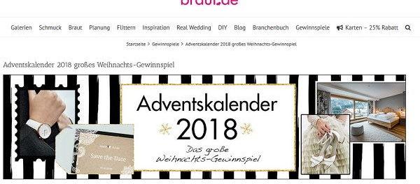 Braut.de Adventskalender Gewinnspiel 2018