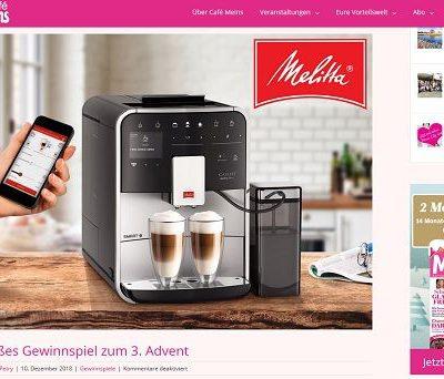 Cafe Meins Advents-Gewinnspiel 2 Melitta Kaffeevollautomaten