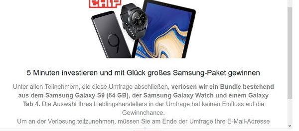 Chip.de Gewinnspiel Samsung S9 und Watch gewinnen