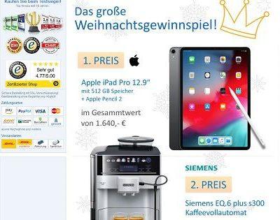 Computeruniverse Weihnachts-Gewinnspiel Apple iPad Pro Kaffeevollautomat