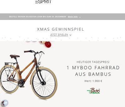 Esprit Gewinnspiel Myboo Bambus Fahrrad gewinnen