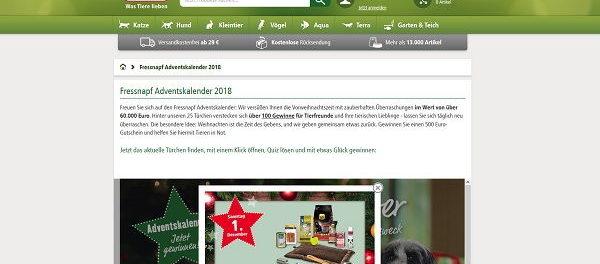 Fressnapf Adventskalender Gewinnspiel 2018