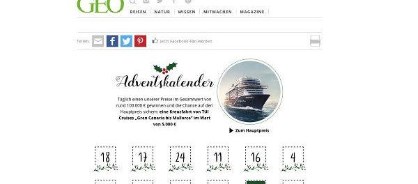 GEO Adventskalender Gewinnspiel 2018 Kreuzfahrt und Sachpreise