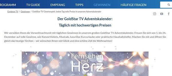 GoldStarTV Adventskalender Gewinnspiel 2018