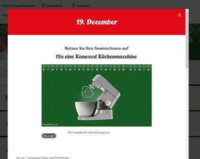 Kenwood Küchenmaschinen Gewinnspiel Kaufland Adventskalender 2018