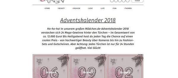 Mädchen.de Adventskalender Gewinnspiel 2018