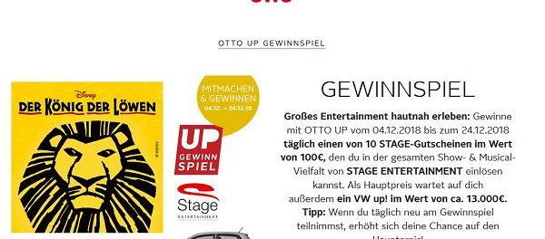 Otto Auto-Gewinnspiel VW UP und täglich 10 Stage Gutscheine
