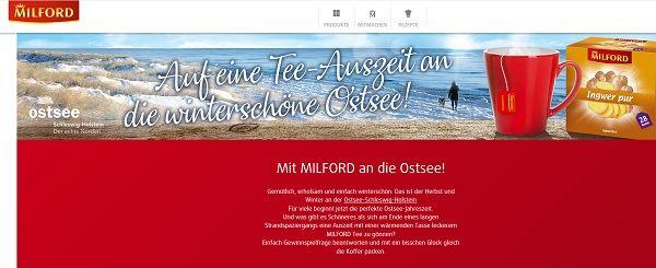 Reise-Gewinnspiel Milford Tee Ostsee Auszeit gewinnen