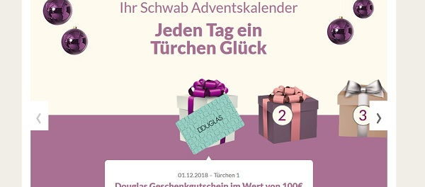 Schwab Versand Adventskalender Gewinnspiel 2018