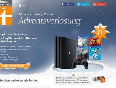 Test.de Adventskalender Gewinnspiel Sony PlayStation 4 Spielkonsole