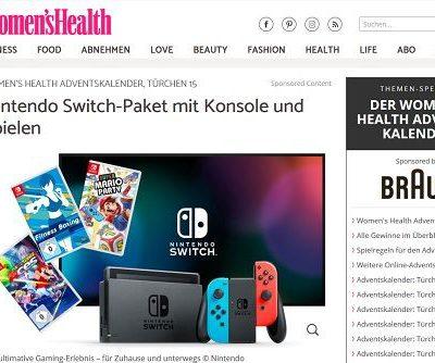 WomensHealth Adventskalender Gewinnspiel Nintendo Switch Spielkonsole