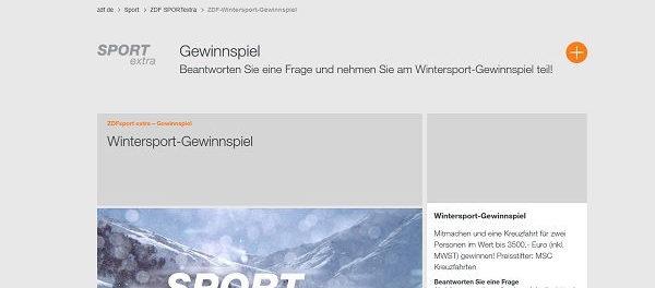 ZDF Wintersport Gewinnspiel MSC Kreuzfahrt gewinnen
