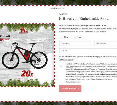 toom Baumarkt Adventskalender Gewinnspiel 20 E-Bikes