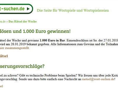 1.000 Euro Bargeld Gewinnspiel Wort-suchen.de Kreuzworträtsel