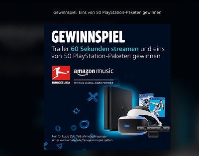 Amazon Gewinnspiel 50 Playstation Pakete gewinnen