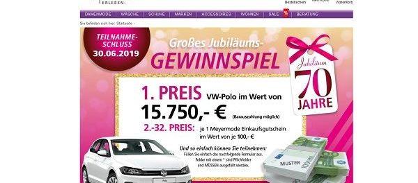 Auto-Gewinnspiel Meyer Mode VW Polo oder Bargeld gewinnen
