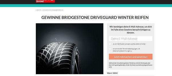 Auto Zeitung Gewinnspiel Bridgestone Autoreifen gewinnen