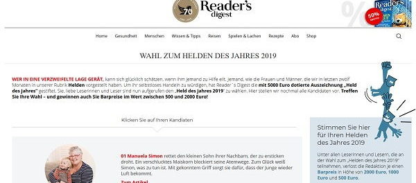 Bargeld Gewinnspiel Readers Diggest Heldenwahl 2019