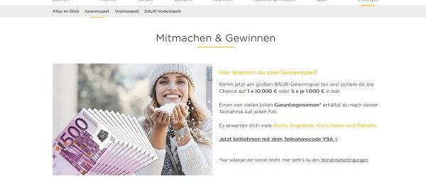Baur Versand Geld Gewinnspiel 10.000 Euro und 5 mal 1.000 Euro