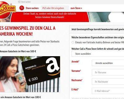 Call a Pizza Gewinnspiel Amazon Gutscheine gewinnen