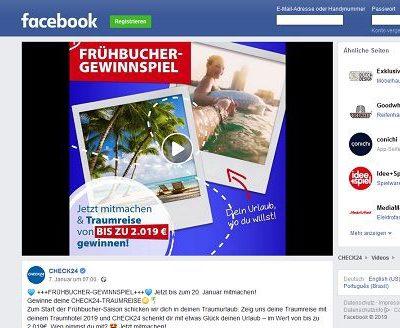 Check24 Frühbucher Gewinnspiel 2019 Urlaubsreise gewinnen