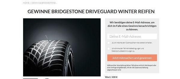 Cosmopolitan Gewinnspiel Bridgestone Driveguard Winterreifen