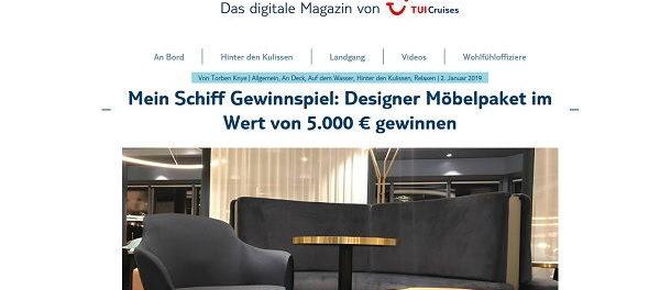 Designer Möbel Gewinnspiel TUI Cruises Mein Schiff
