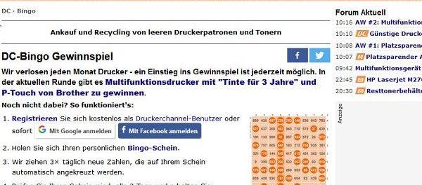 Druckerchannel Bingo Gewinnspiel Multifunktionsdrucker gewinnen