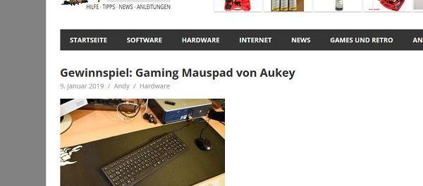 EKIWI-Blog Gewinnspiel Aukey Gaming Mauspad gewinnen