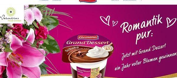 Ehrmann Gewinnspiel Grand Dessert Blumenabos gewinnen