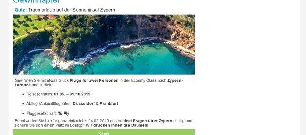FTI Reise Gewinnspiel 2 Personen Zypern Flüge