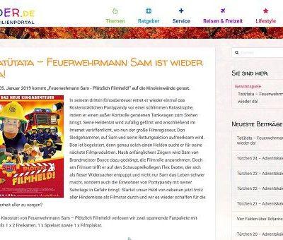 Feuerwehrmann Sam Gewinnspiel Kinder.de