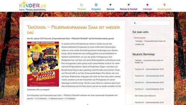 Feuerwehrmann Sam Gewinnspiel Kinder De