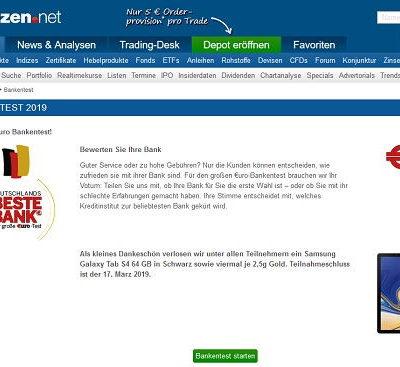 Finanzen.net Gewinnspiel Samsung Tablet und Goldbarren